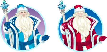 mythological character: Russian Christmas and New Year Mythological Character Father Frost  in blue and red coat illustration in cartoon style