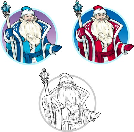 mythological character: Russian Christmas and New Year Mythological Character Father Frost in blue and red coat with black lineart illustration