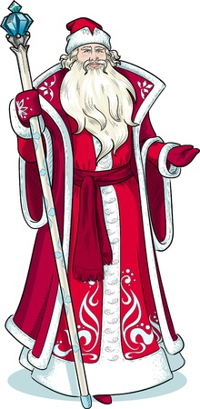 grandfather frost: Russian Christmas and New Year Mythological Character Father Frost in red coat with black lineart illustration