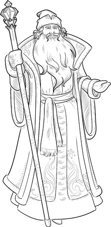 mythological character: Russian Christmas and New Year Mythological Character Father Frost lineart illustration