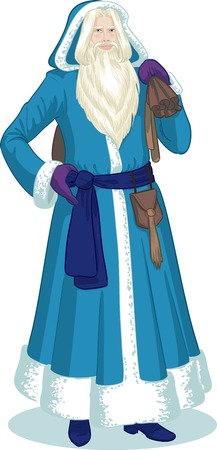 mythological character: Russian Christmas and New Year Mythological Character Father Frost in blue coat illustration in cartoon style