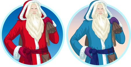 mythological character: Russian and French Christmas and New Year Mythological Character Father Frost and Pere Noel in blue and red coat illustration in cartoon style
