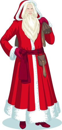 French Christmas and New Year Mythological Character Pere Noel in red coat illustration in cartoon style Vector