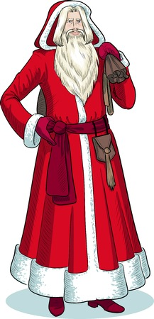 pere noel: French Christmas and New Year Mythological Character Pere Noel in red coat illustration in cartoon style Illustration