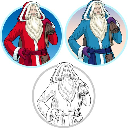 pere noel: Russian and French Christmas and New Year Mythological Character Father Frost and Pere Noel in blue and red coat illustration in cartoon style