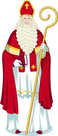 sacerdote: Carácter Navidad Sinterklaas Saint Nicolas ilustración en estilo de dibujos animados Vectores