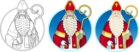 saints: Christmas Character Sinterklaas Saint Nicolas set of illustrations on background Illustration