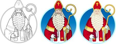 Christmas Character Sinterklaas Saint Nicolas set of illustrations on background Illustration
