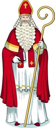 mitre: Christmas Character Sinterklaas Saint Nicolas illustration in cartoon style