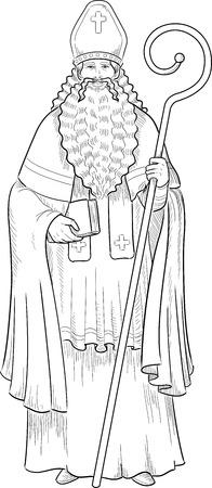 Christmas Character Sinterklaas Saint Nicolas illustration lineart Vector