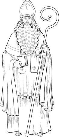 saint nicolas: Christmas Character Sinterklaas Saint Nicolas illustration lineart