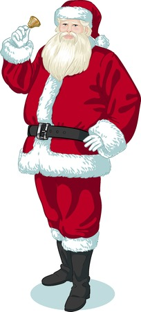 Christmas Character Santa Claus with bell illustration in cartoon style Vector