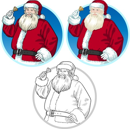 Christmas Character Santa Claus with bell set of illustrations in cartoon style Vector