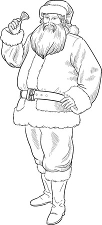 Christmas Character Santa Claus with bell illustration lineart Vector