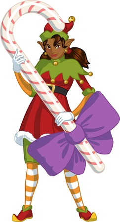 candy stick: African American female Christmas elf holds big candy stick with a bow illustration cartoon Stock Photo