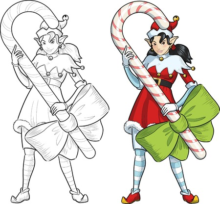 candy stick: asian female Christmas elf holds big candy stick with a bow illustration lineart and colored