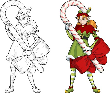 red hair: Caucasian female Christmas elf red hair holds big candy stick with a bow illustration lineart and colored