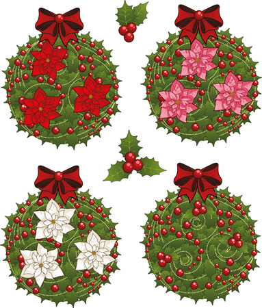 glob: Clip art set of red Christmas mistletoe decorative glob elements  with red white and pink poinsettia Illustration