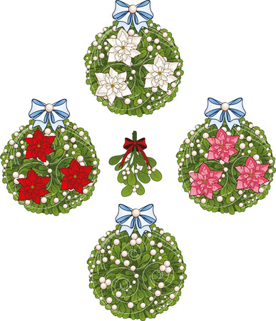 glob: Clip art set of white Christmas mistletoe decorative glob elements  with red white and pink poinsettia