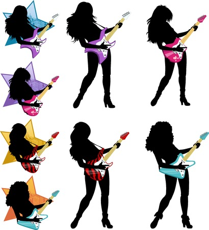 girl pose: Female rock musician playing electric guitar vector illustrations set silhouettes Illustration