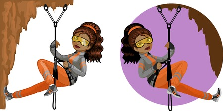 mixed race girl: Cute young African American woman mountaineer climbs rock in professional equipment vector illustration in cartoon and flat design style Illustration