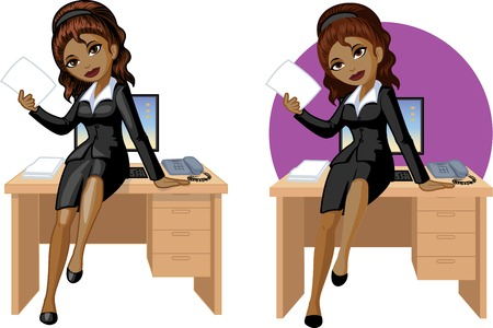 american table: Cute young African American office woman sitting on table vector illustration in cartoon style