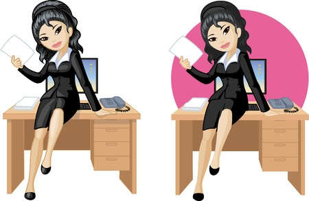 mixed race girl: Cute young Asian office woman sitting on table vector illustration in cartoon style Illustration