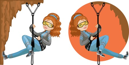 mountain climber: Cute young Caucasian woman mountaineer climbs rock in professional equipment vector illustration in cartoon and flat design style Illustration