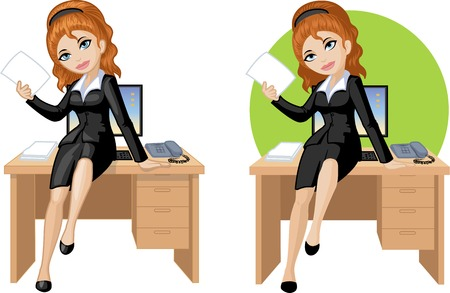 long red hair: Cute young Caucasian office woman sitting on table vector illustration in cartoon style