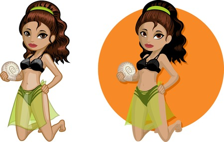mixed race girl: Cute young Indonesian woman in bikini holds shell vector illustration in cartoon and flat design style