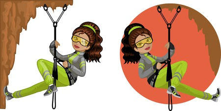 mixed race girl: Cute young Indonesian woman mountaineer climbs rock in professional equipment vector illustration in cartoon and flat design style