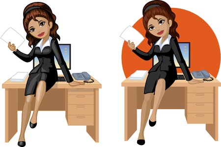 mixed race girl: Cute young Indonesian office woman sitting on table vector illustration in cartoon style