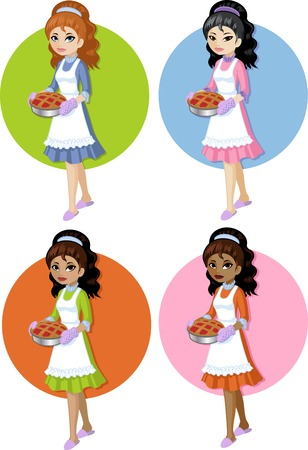 mixed race girl: Cute young woman in dress and apron holding homemade cake Asian Caucasian African American and Indonesian vector illustration cartoon style on simple background