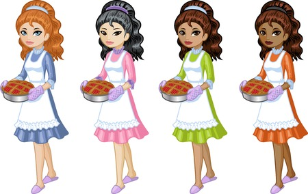 mixed race girl: Cute young woman in dress and apron holding homemade cake Asian Caucasian African American and Indonesian vector illustration cartoon style isolated