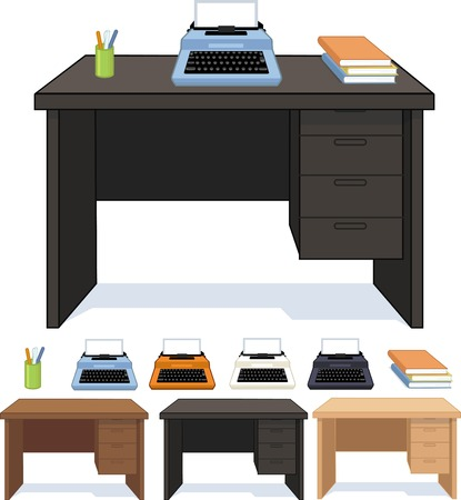 Wood desk three color option with typewriter set isolated vector illustration Illustration