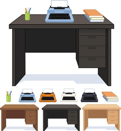 pensils: Wood desk three color option with typewriter set isolated vector illustration Illustration
