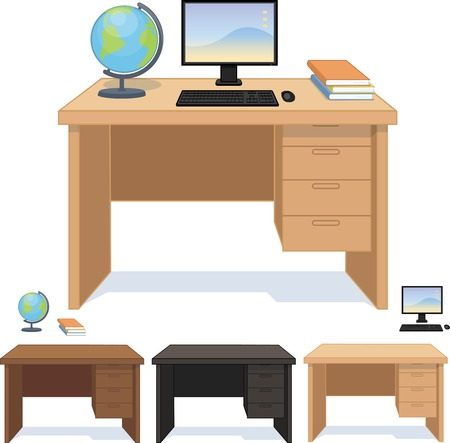 Wood desk three color option for pupil and student set isolated vector illustration Vector