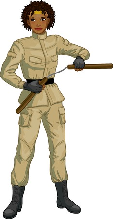 armed: Young healthy African American girl armed with nunchuck in military uniform vector illustration colored lineart