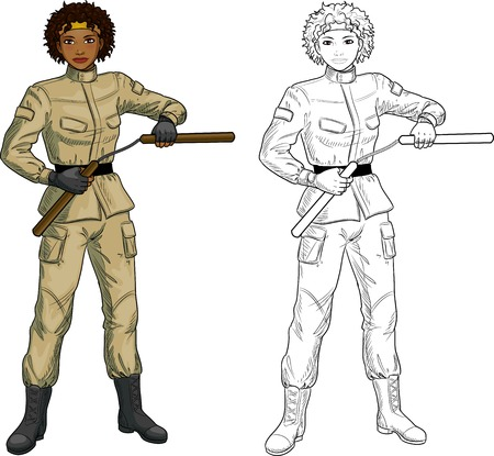 mixed race girl: Young healthy African American girl armed with nunchuck in military uniform vector illustration colored and lineart Illustration