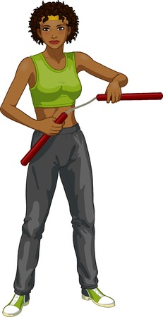 african grey: Young healthy African American girl armed with nunchuck in sport uniform vector illustration colored lineart Illustration