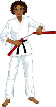 Young healthy African American girl armed with nunchuck in karategi vector illustration colored lineart