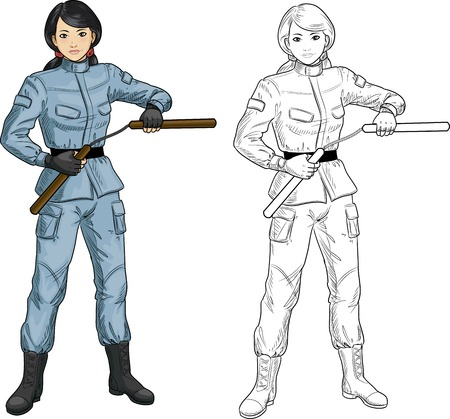 karate practice: Young healthy Asian girl armed with nunchuck in military uniform vector illustration colored and lineart