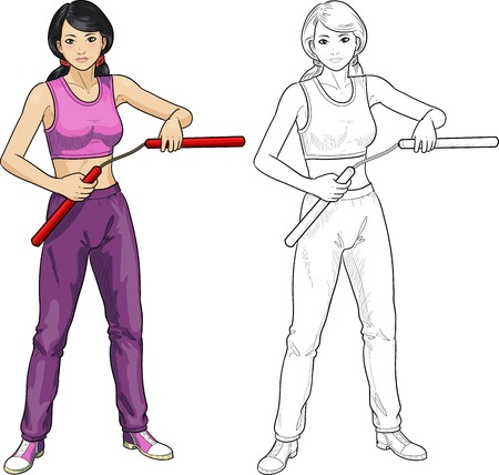 karate practice: Young healthy Asian girl armed with nunchuck in sport uniform vector illustration colored and lineart