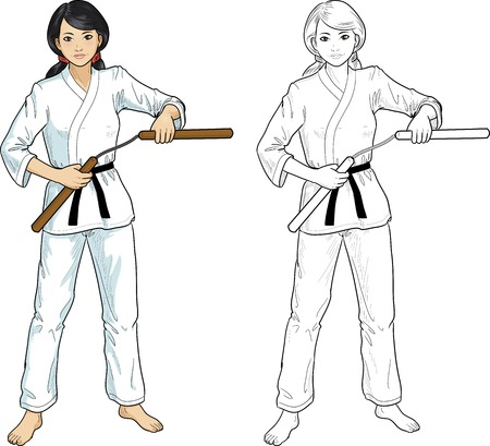 karate practice: Young healthy Asian girl armed with nunchuck in karategi vector illustration colored and lineart