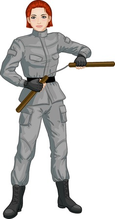 military girl: Young healthy Caucasian girl armed with nunchuck in military uniform vector illustration colored lineart Illustration