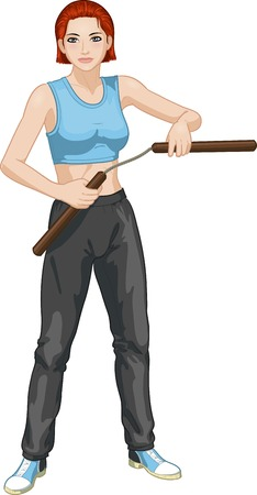 martial arts woman: Young healthy Caucasian girl armed with nunchuck in sport uniform vector illustration colored lineart