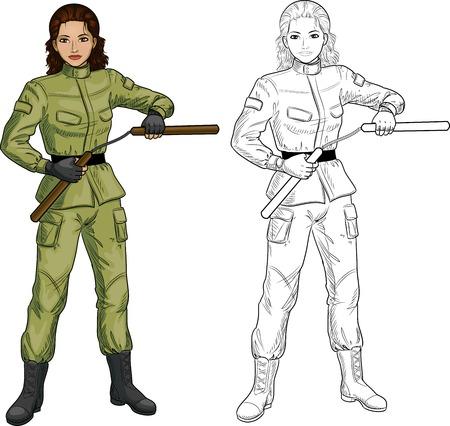indonesisch: Jonge gezonde Indonesisch meisje gewapend met nunchuck in militair uniform vector illustratie gekleurde en lineart