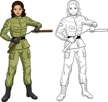 Young healthy Indonesian girl armed with nunchuck in military uniform vector illustration colored and lineart