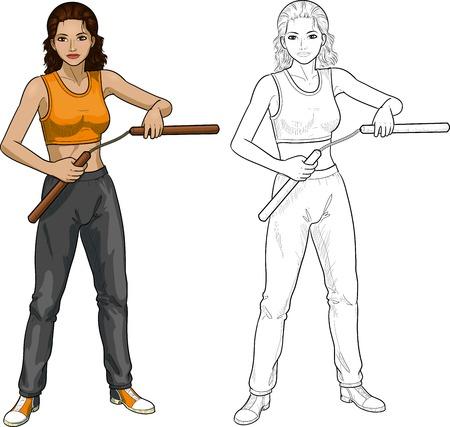indonesisch: Jonge gezonde Indonesische meisje gewapend met nunchuck in de sport uniform vector illustratie gekleurde en lineart