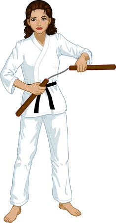 karate practice: Young healthy Indonesian girl armed with nunchuck in karategi vector illustration colored lineart